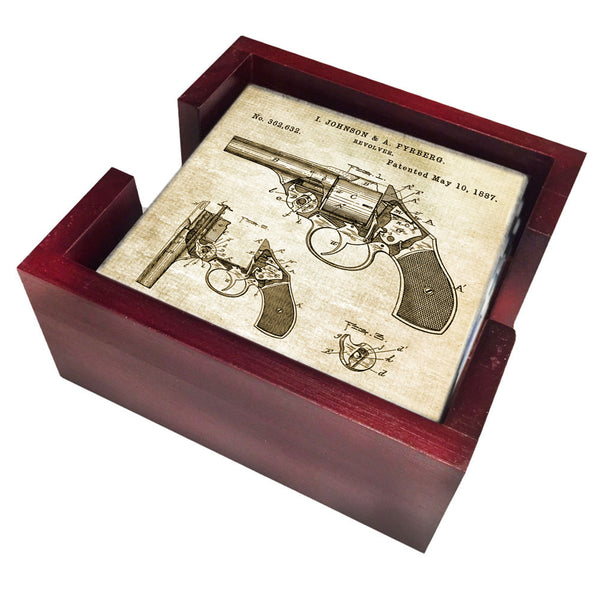 Police Gift Coaster Set - 1887 Patent Drawing Revolver Pistol 4 Piece Set