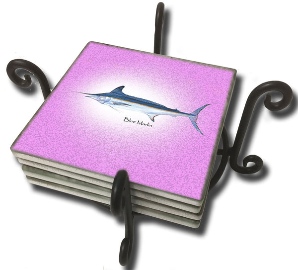 Deep Sea Fish Sandstone Coaster Set Metal or Wooden Holder