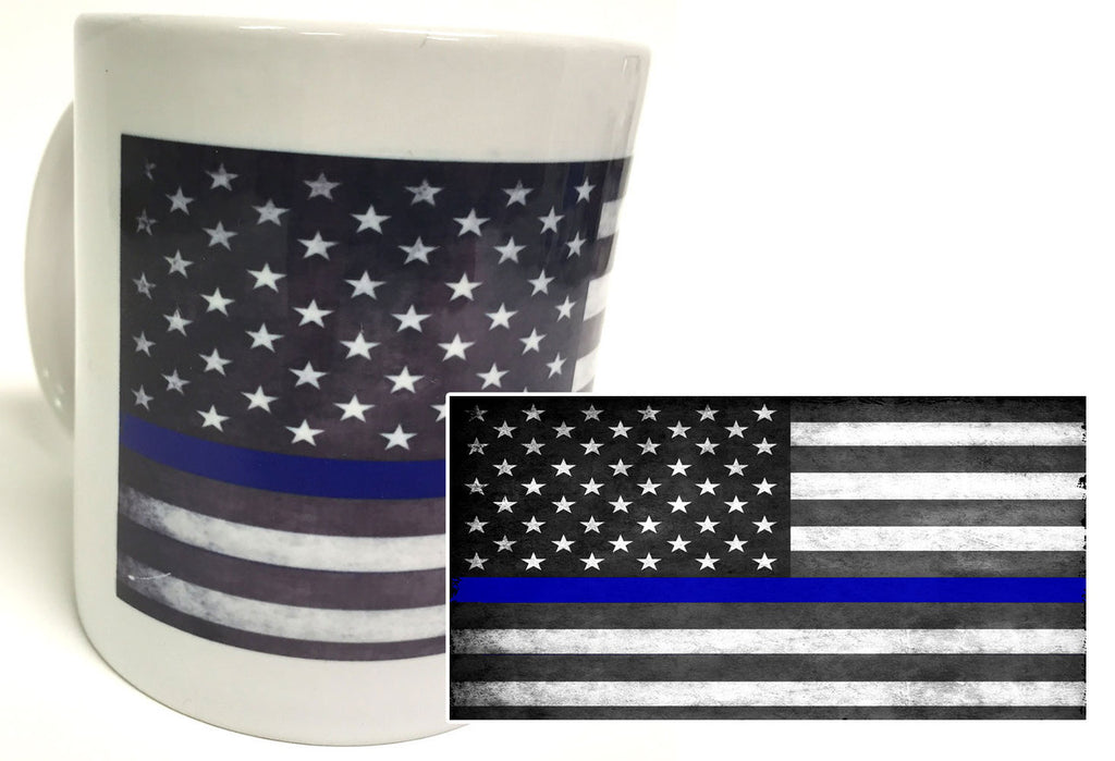 Thin Blue Line Subdued American Flag 11 oz. Tactical Coffee Mug