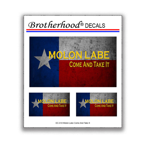 State Flag of Texas Molon Labe Come and Take It Decal - 3 Decals Per Card