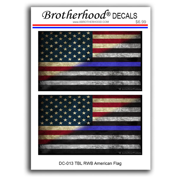 Distressed Thin Blue Line Red White and Blue American Flag Decal - 3 Decals Per Card