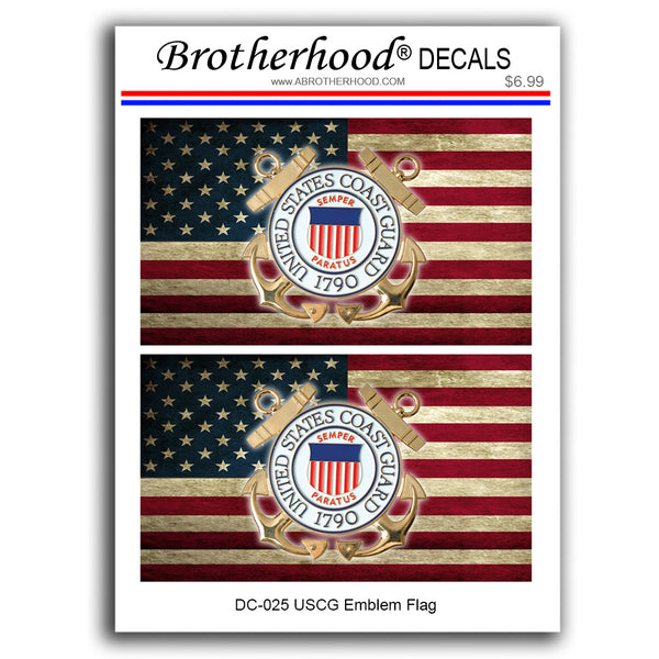 United States Coast Guard Emblem Distressed American Flag - 2 Decals or Magnets