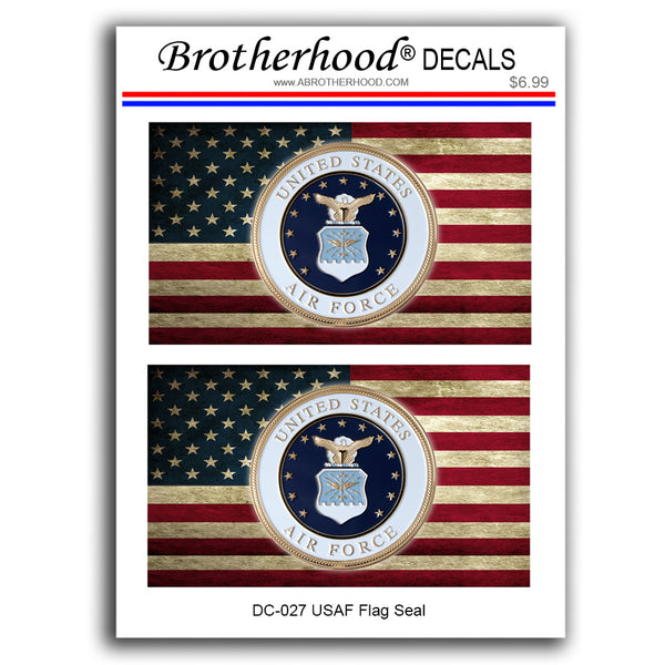 United States of Air Force Seal on  Distressed American Flag - Decals or Magnets
