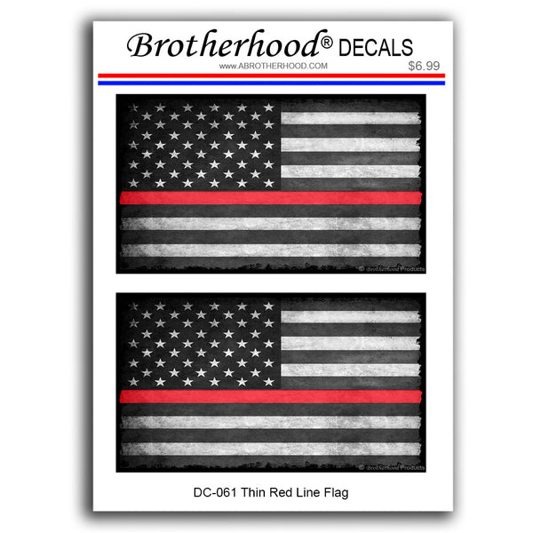 Firefighter Thin Red Line American Flag In Support of Firefighters - 2 Decals or 2 Magnets