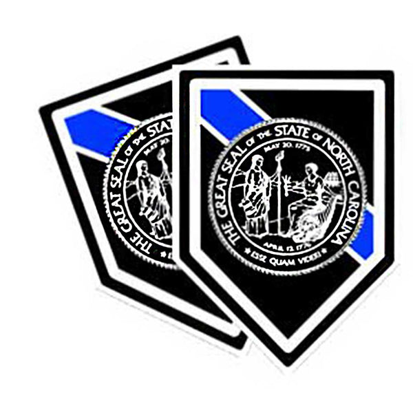 Thin Blue Line North Carolina Seal - 2 Decals or Magnets