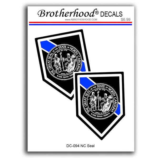Thin Blue Line North Carolina Seal Police Sheriff - 2 Decals or Magnets