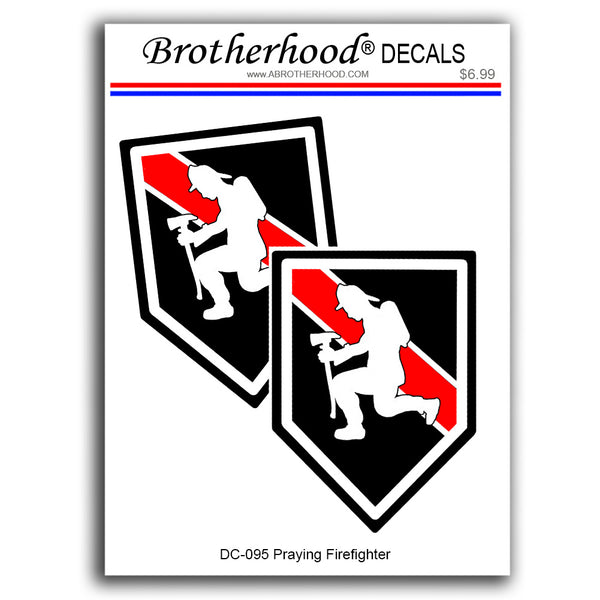 Thin Red Line Kneeling Praying Firefighter - 2 Decals or 2 Magnets