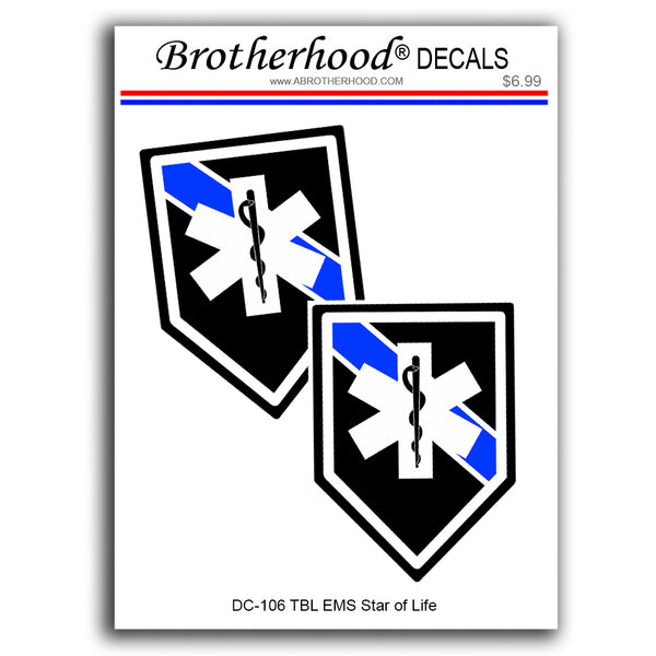 EMS Paramedic Star of Life Thin Blue Line Law Enforcement - 2 Decals or Magnets