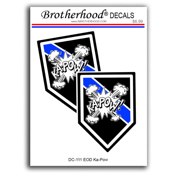 Thin Blue Line Police Sheriff EOD Ka-Pow - 2 Decals or Magnets