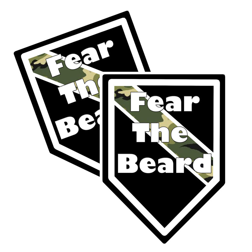 "Thin Camoflauge Line ""Fear The Beard"" Shield Shaped Decal Package of 4"