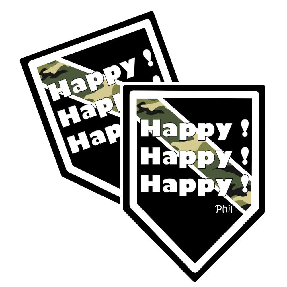 "Thin Camoflauge Line ""Happy! Happy! Happy!"" Shield Shaped Decal Package of 4"