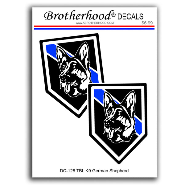 Thin Blue Line Police Sheriff K9 Canine German Shepherd - 2 Decals or Magnets