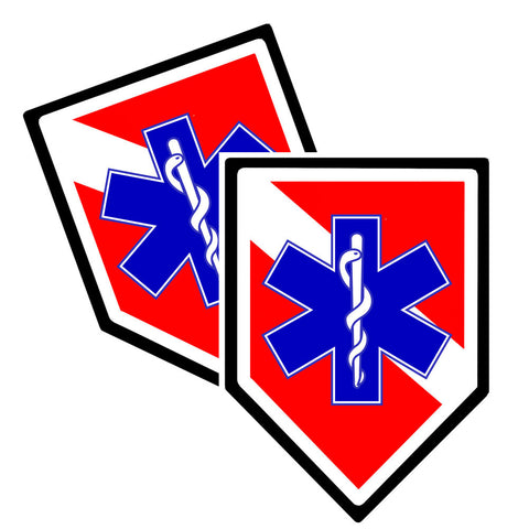 Police Sticker For EMT or EMS Star of Life Size Size 3.75 x 1.90""