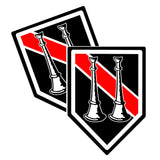 Thin Red Line Captain Bugle Unit Shield Shaped Decal Package of 4