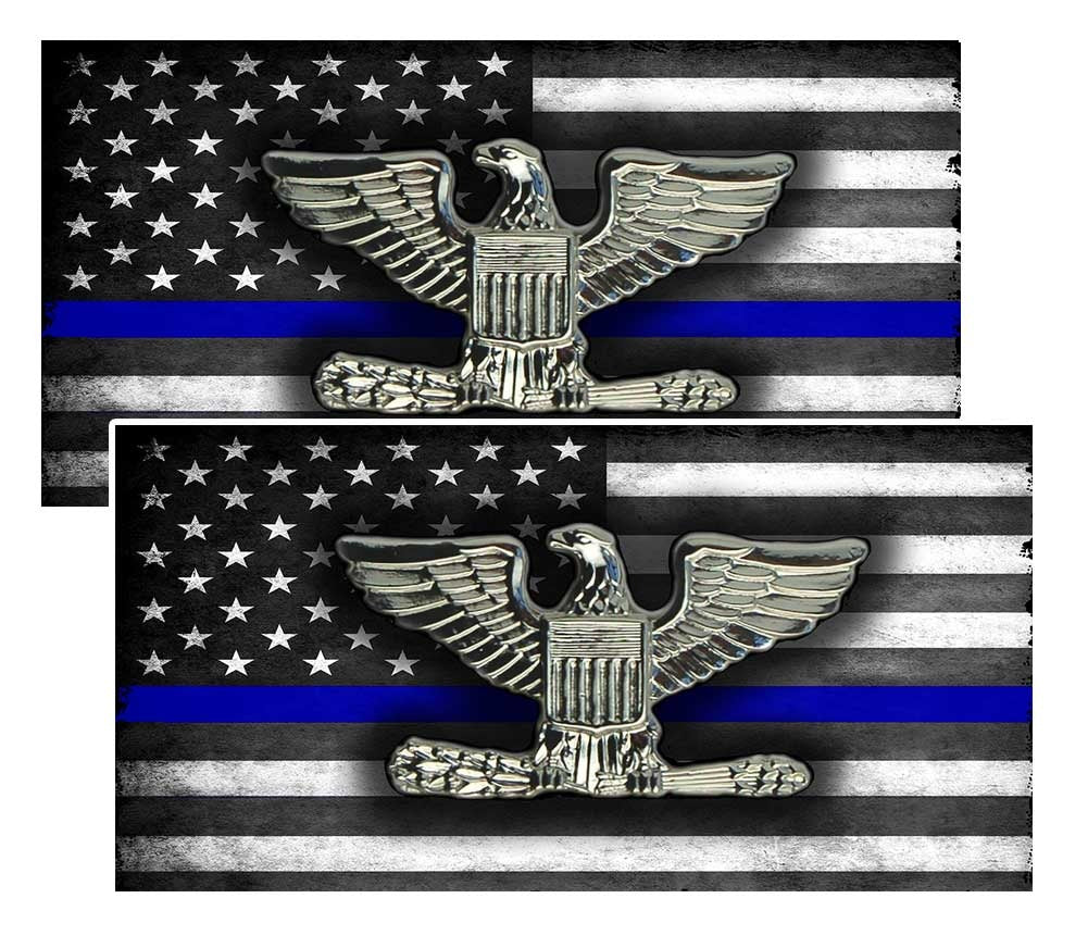 Thin Blue Line American Flag  Colonel Police Decal Package of 4