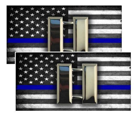 Thin Blue Line American Flag  Captain Police Decal Package of 4