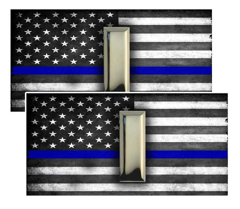 Thin Blue Line American Flag  Lieutenant Police Decal Package of 4
