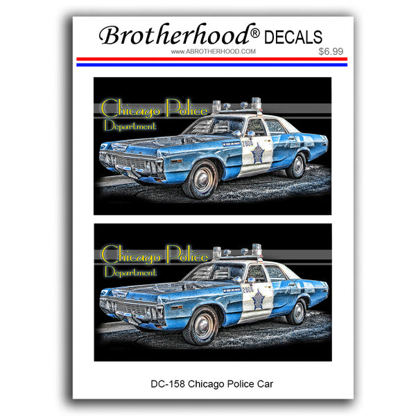 Police Stickers Chicago Police Department 1970's Police Car - 2 Decals or Magnets