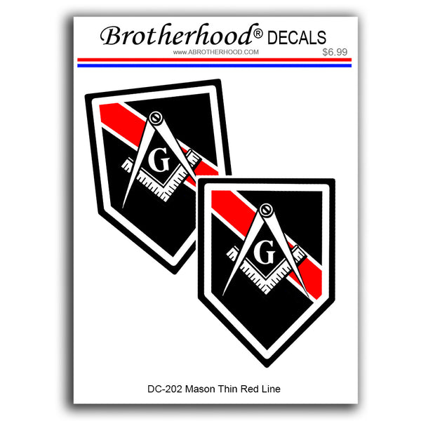 Thin Red Line Mason Compass & Square Firefighters- 2 Decals or 2 Magnets