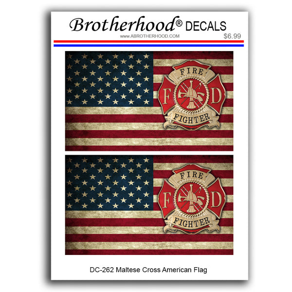 Firefighter Offset Maltese Cross American Flag In Support of Firefighters - 2 Decals or 2 Magnets