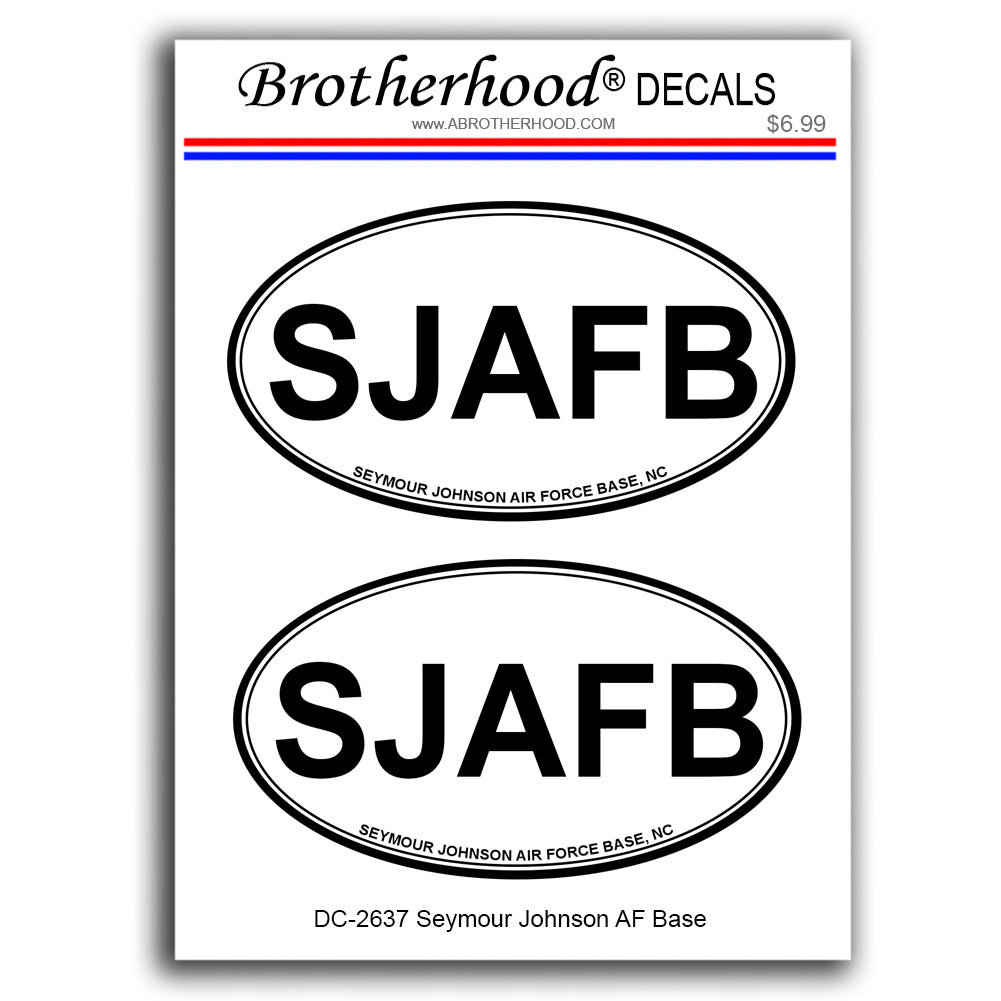 United States of Air Force Seymour Johnson Air Force Base Oval Shape - 2 Decals
