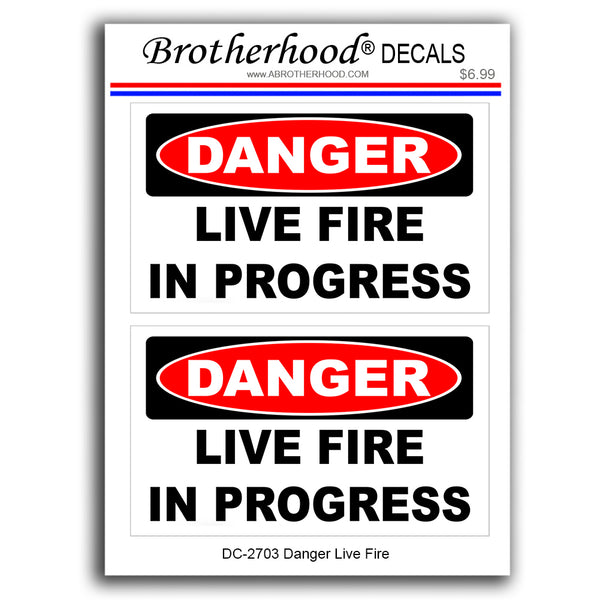 Police Stickers Firearms Training Danger Live Fire In Progress - Decals or Magnets