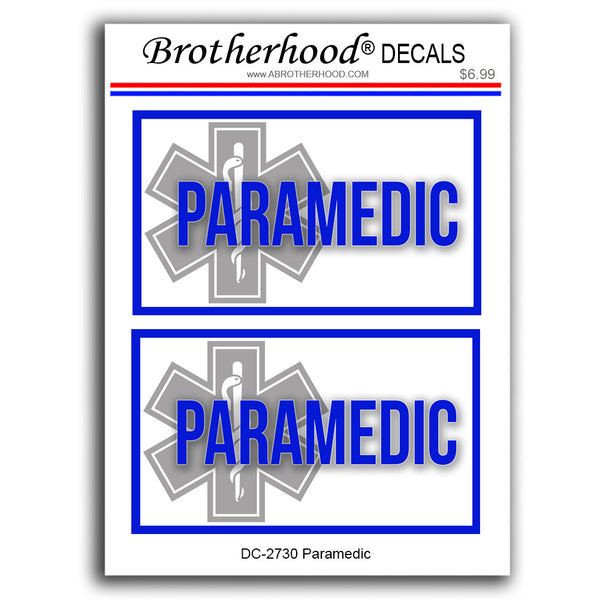 Emergency First Responder Paramedics Star of Life Emblem - 2 Decals or Magnets