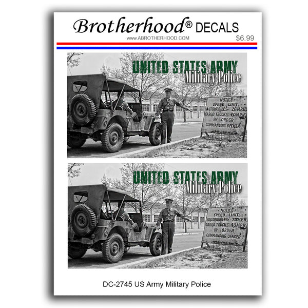 United States Army Military Police Old Jeep - 2 Decals or Magnets