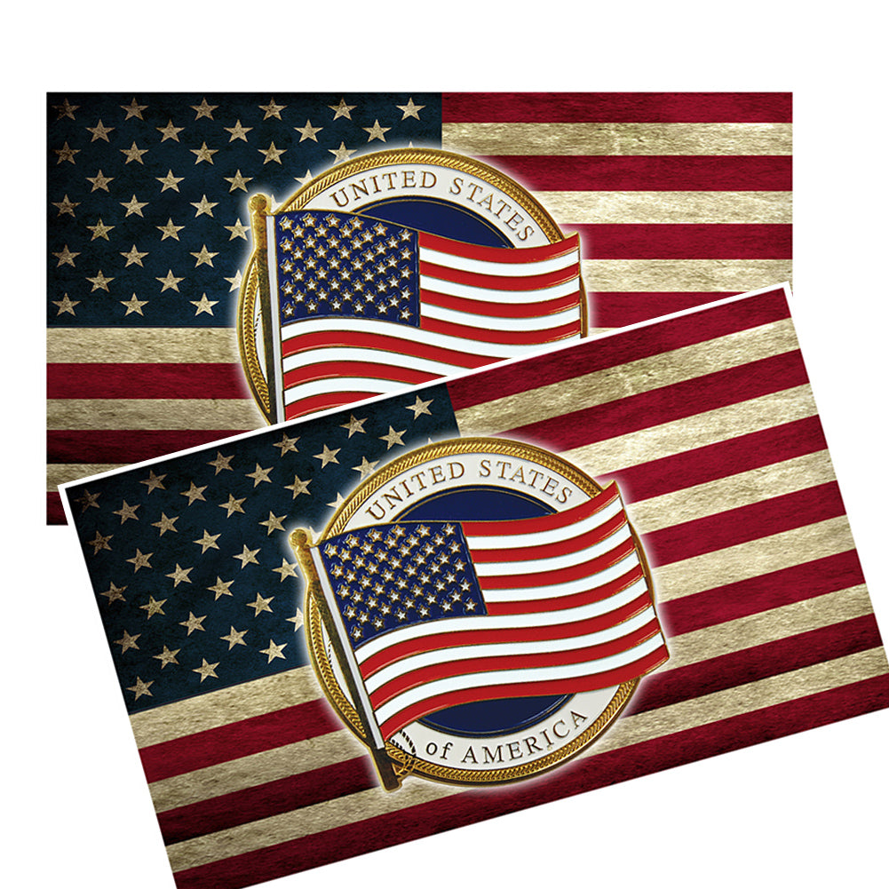 Presidents Seal United States of America on  Distressed American Flag Decal Pack of 4