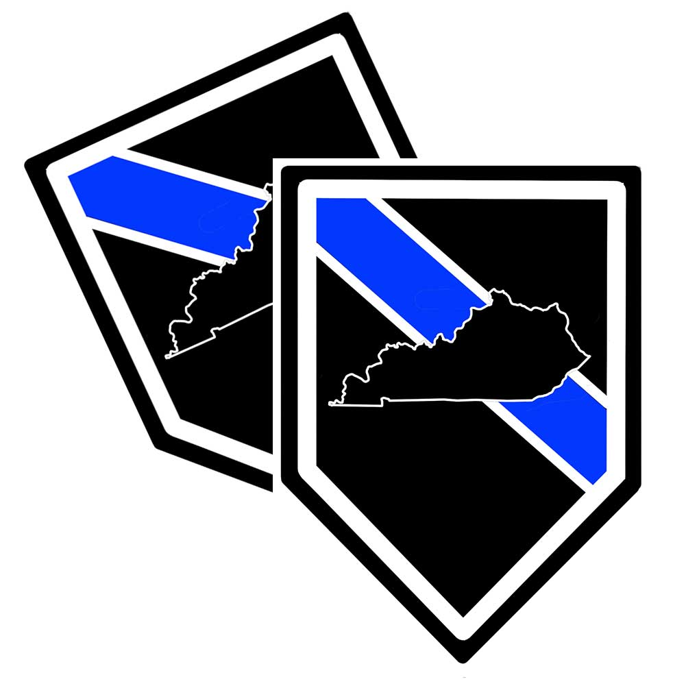 State of Kentucky Thin Blue Line Police Decal (Sticker) - Pack of 2 Decals