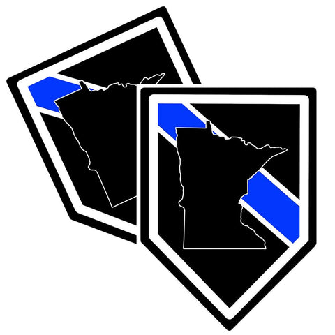 "Police Sticker State of Minnesota Thin Blue Line Pack of 2"" x 3.75"""