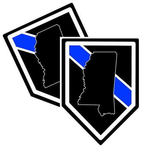 State of Mississippi Thin Blue Line Police Decal (Sticker) - Pack of 2 Decals