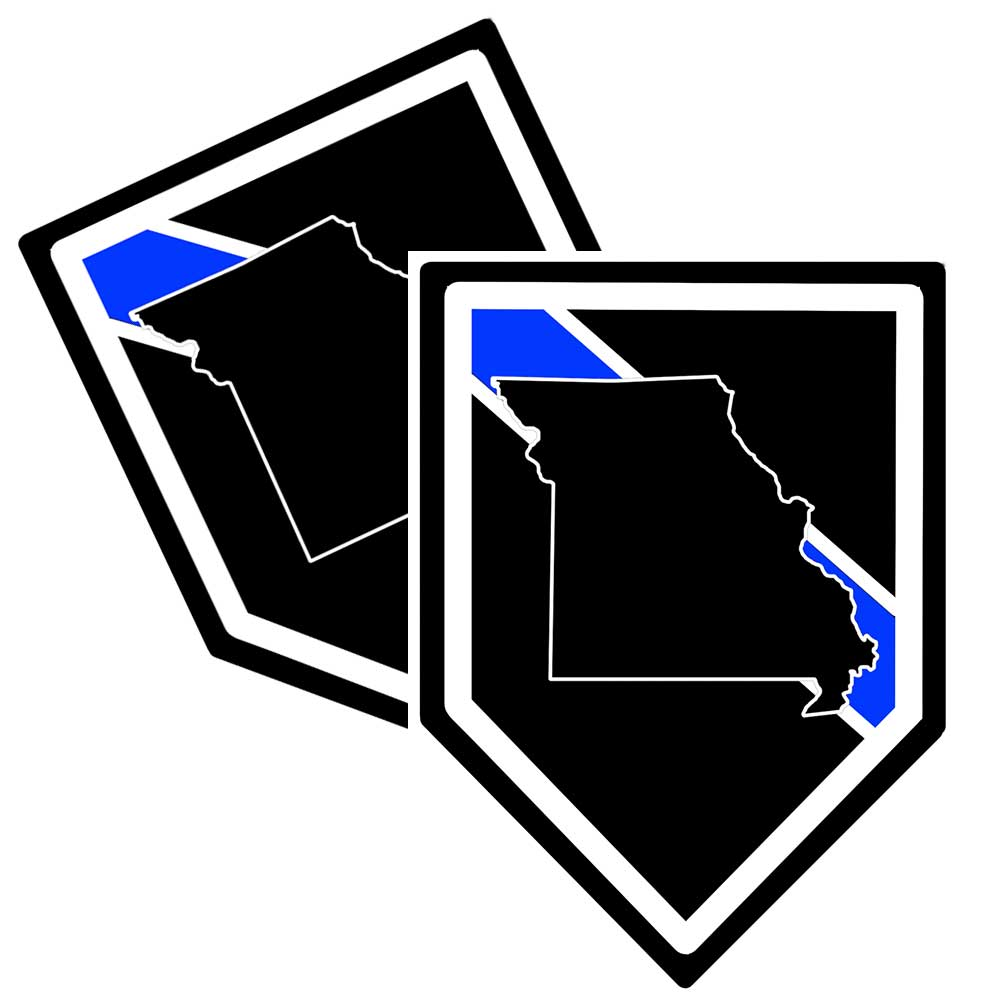 State of Missouri Thin Blue Line Police Decal (Sticker) - Pack of 2 Decals
