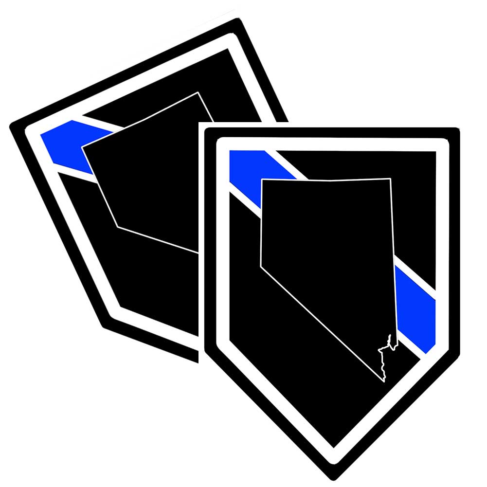 State of Nevada Thin Blue Line Police Decal (Sticker) - Pack of 2 Decals