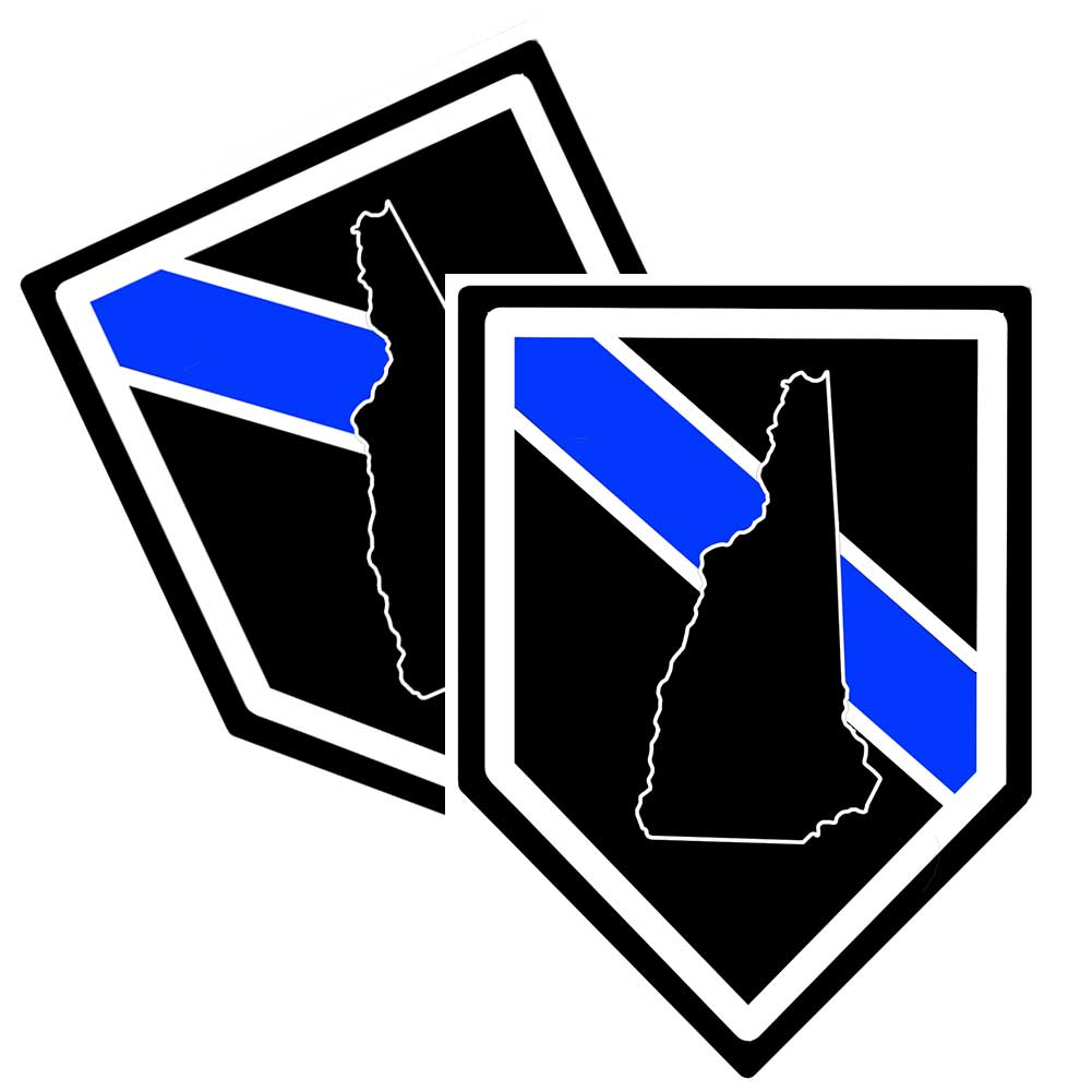 State of New Hampshire Thin Blue Line Police Decal (Sticker) - Pack of 2 Decals