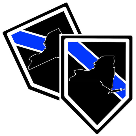 State of New York Thin Blue Line Police Decal (Sticker) - Pack of 2 Decals