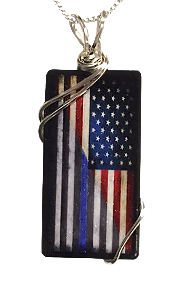 Thin Blue Line American Flag Police Necklace with Sterling Silver Chain
