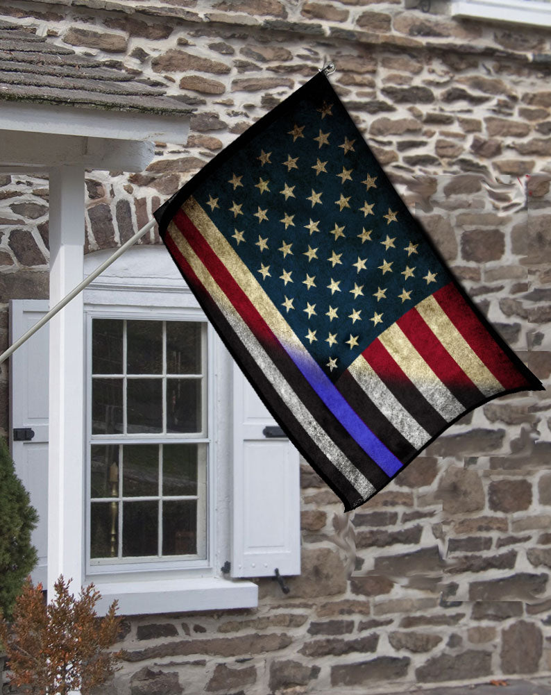 Thin Blue Line American Flag Police House Flag Sheriff Deputy Flag