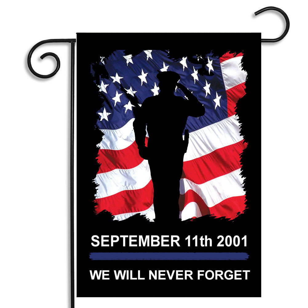 Double Sided Sept. 11 2001 We Will Never Forget Saluting Police Officer American Flag Outdoor Nylon Garden Flag