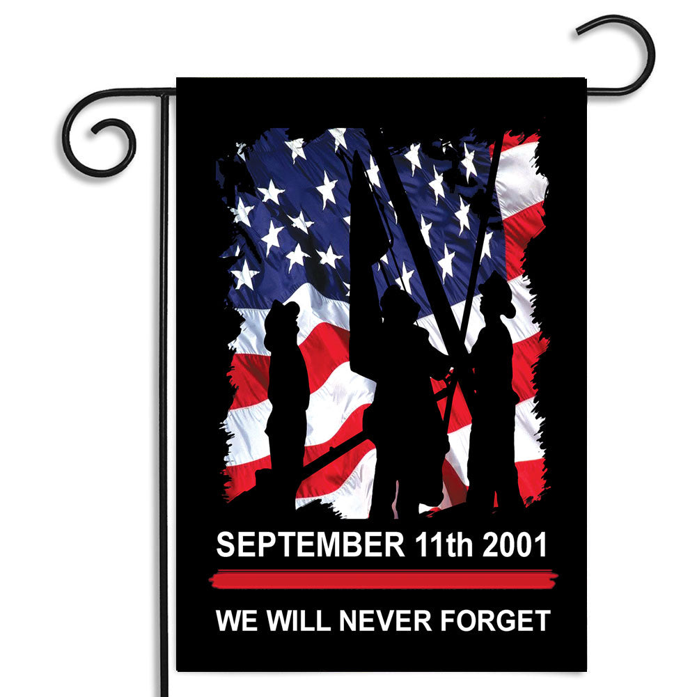 Double Sided Sept. 11th 2001 Firefighter Memorial We Will Never Forget Nylon Garden Apartment Flag
