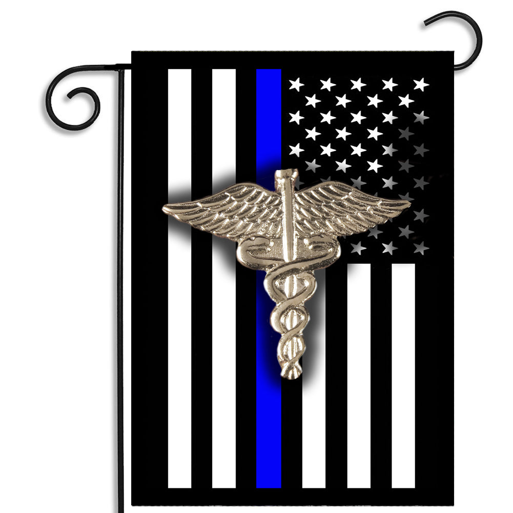 Thin Blue Line Law Enforcement Nurse Emblem Nylon Garden Apartment Flag