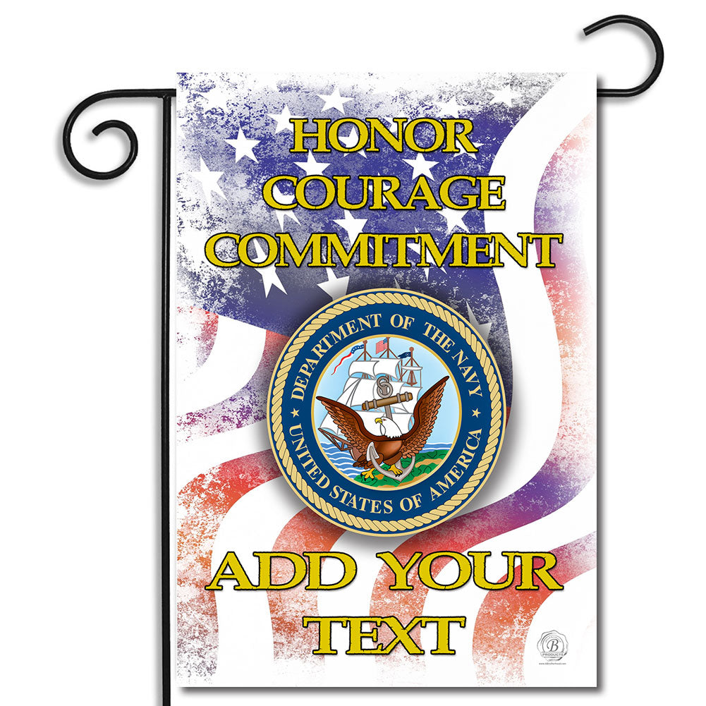 Personalized United States Navy Honor Courage Commitment Pride Nylon Garden Apartment Flag
