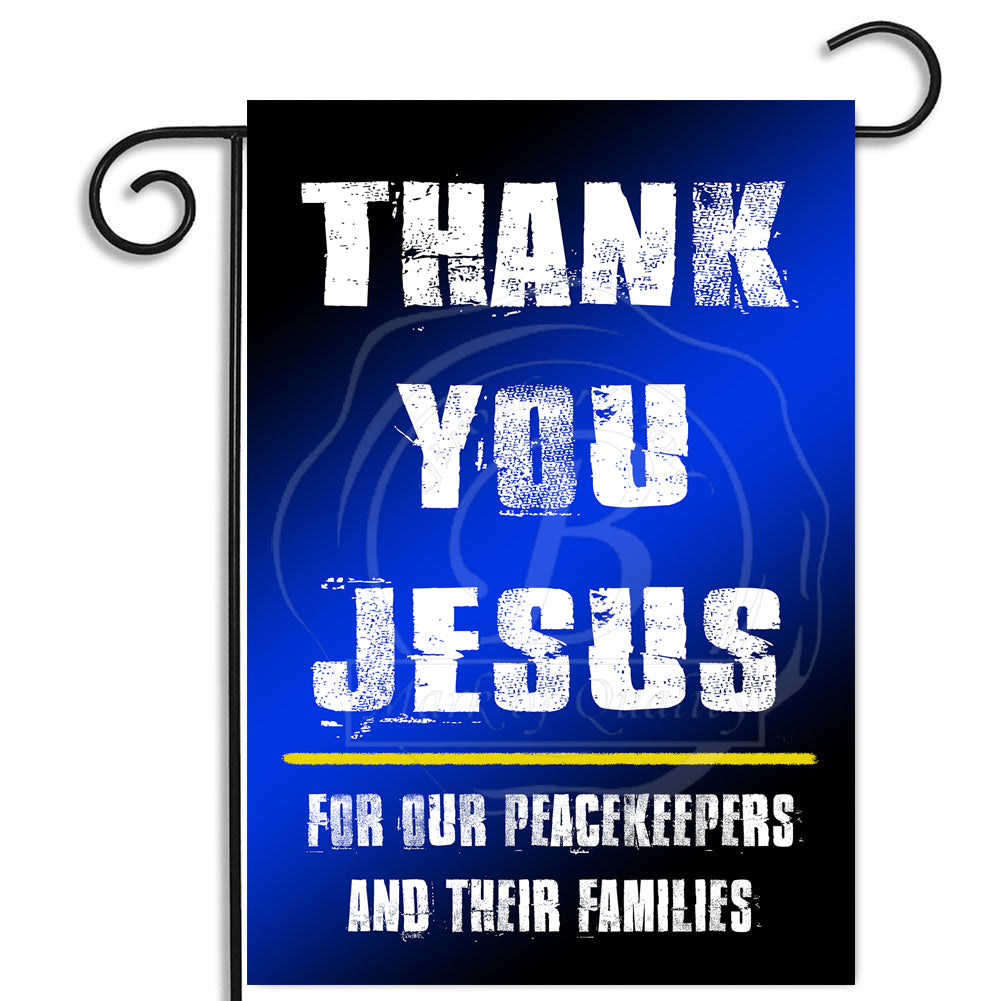 Double Sided Thin Blue Line Thank You Jesus Law Enforcement Nylon Garden Apartment Flag