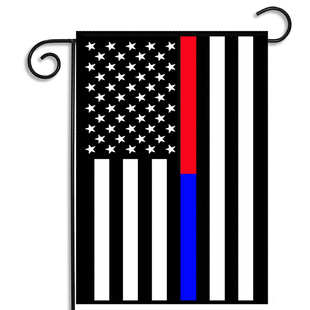 Thin Red Line Thin Blue Line Law Enforcement Firefighter Nylon Garden Apartment Flag