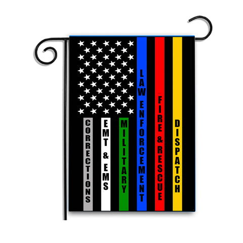 Double Sided Police, Dispatch, Firefighter, EMT, Military, and Corrections Nylon Garden Flag