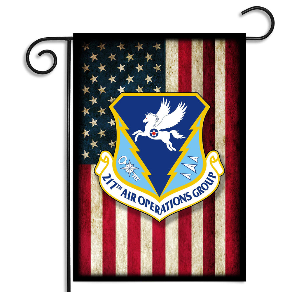 Double Sided Color Block United States Air Force American Flag 217th Air Operations Group Garden Flag