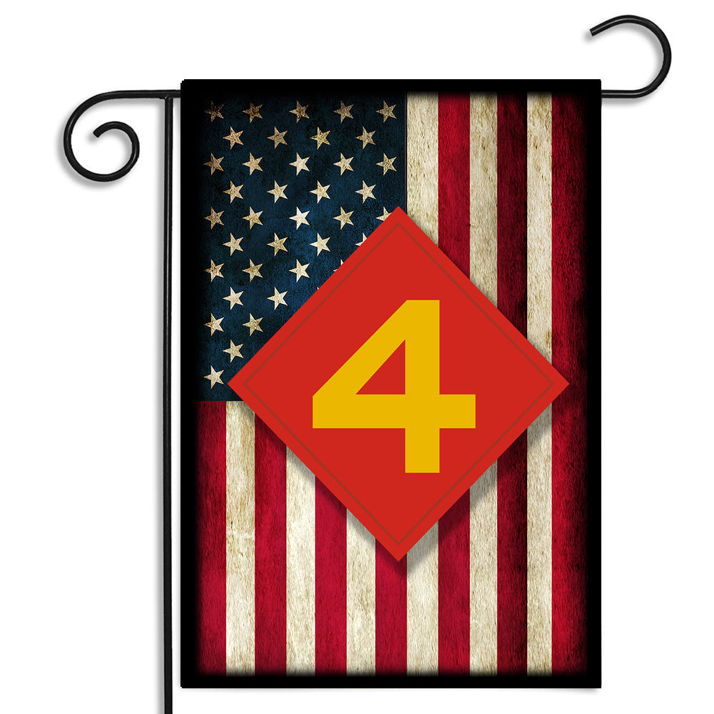United States Marine Corps Fourth Division Emblem Apartment or Garden Flag