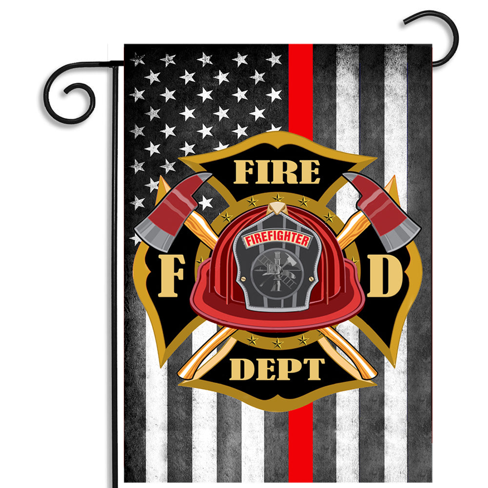 Thin Red Line Fire Department American Flag Maltese Cross Nylon Garden Apartment Flag