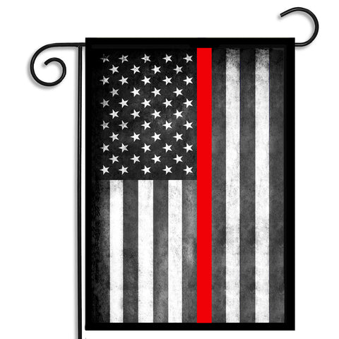 Subdued American Flag Firefighters Thin Red Line Nylon Garden Apartment Flag