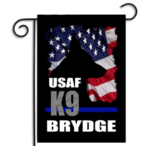 Double Sided Personalized United States Air Force Military Police K9 Dog Apartment or Garden Flag